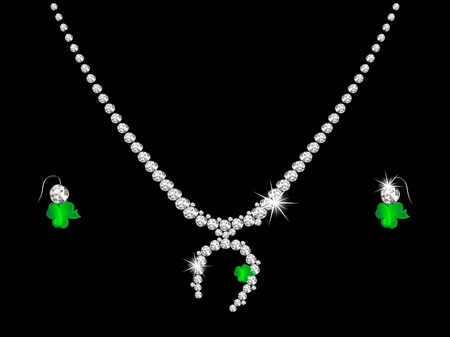 Luxury diamond necklace on black background Vector
