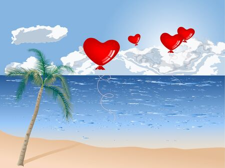 Summer beach with palm tree and heart balloons Vector