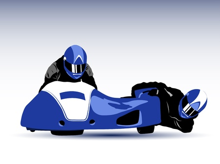 sidecar motocross racing: Realistic illustration of blue motorcycle sidecar