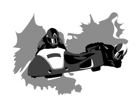 sidecar motocross racing: Realistic vector motorcycle sidecar on abstract grunge background