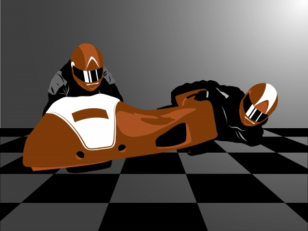 sidecar motocross racing: Realistic illustration of brown motorcycle sidecar