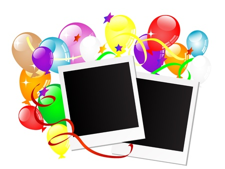 Carnival background with balloons and ribbons  Vector