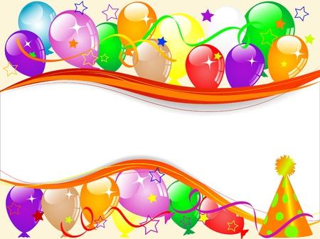 Carnaval achtergrond met ballonnen en linten Stock Illustratie