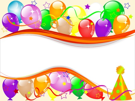 balloon border: Carnival background with balloons and ribbons