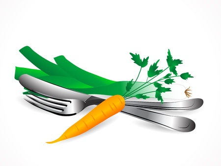 Carrot, leek and the silver set Stock Vector - 17166519
