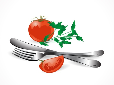 Two red tomatoes and the silver set Stock Vector - 17166517