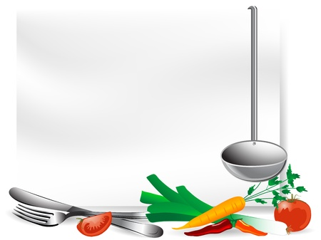 Blank page with vegetables and setting Vector
