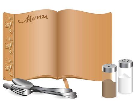 dinner setting: Elegant menu book with salt and pepper box