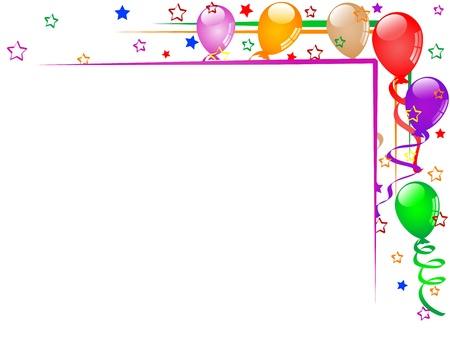 Carnival background with balloons and ribbons