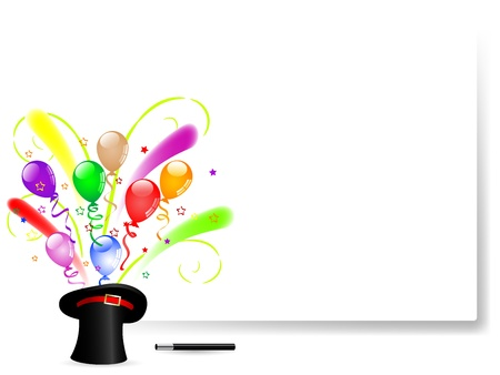 top hat cartoon: Colorful party balloons in black magic hat Illustration