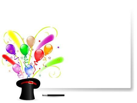globos fiesta: Globos coloridos del partido en el sombrero m�gico negro