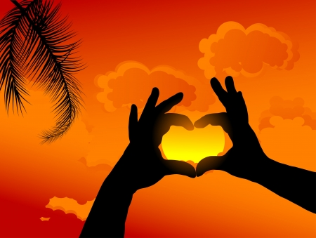 Heart from hands against sunset sky Stock Vector - 17353379