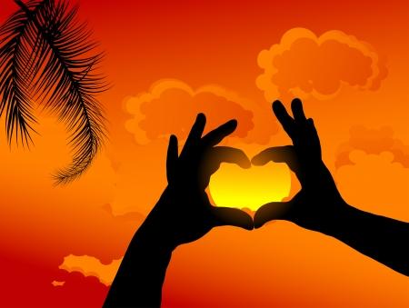 Heart from hands against sunset sky Stock Vector - 17353379