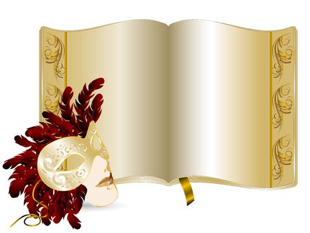 Elegant golden book and face mask Vector