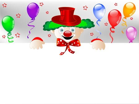 carnival border: Clown with colorful party balloons and ribbons Illustration