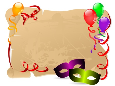 Carnival background with face masks, balloons and scroll Vector