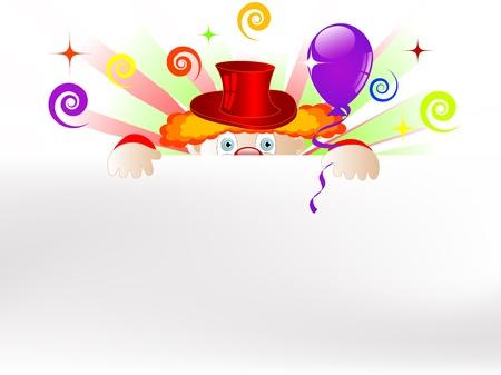 カラフルなパーティー風船とリボンとピエロします。