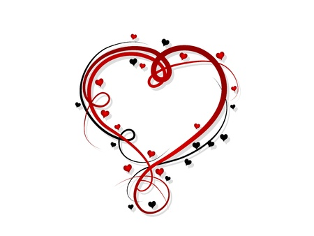 Abstract red heart over white background