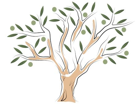 Abstract olive tree with leaves and olives Stock Vector - 17422764
