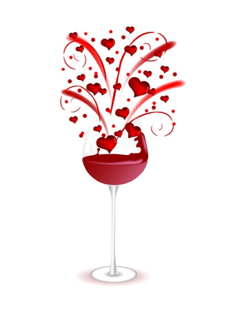 Firework with red hearts in wine glass Stock Vector - 17422763