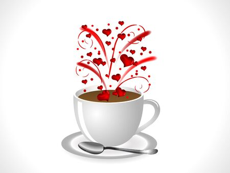 Firework with red hearts in coffee cup Stock Vector - 17422762