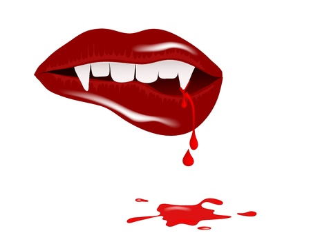 vampire: Vampire mouth with drops of blood