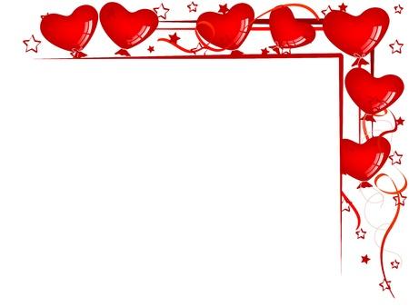 バレンタインの背景に風船、リボン