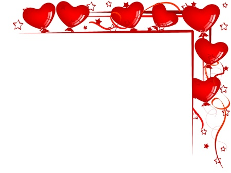 bordure de page: Valentine background avec des ballons et des rubans Illustration