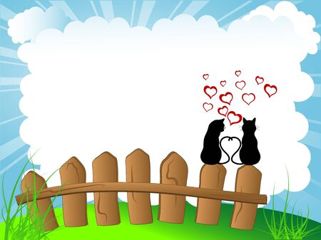 Silhouettes of two cats in love Stock Vector - 17584436