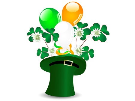 St.Patrick!s green hat with balloons and clover Stock Vector - 17584441