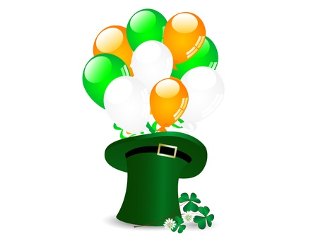 St.Patrick!s green hat with balloons and clover Vector