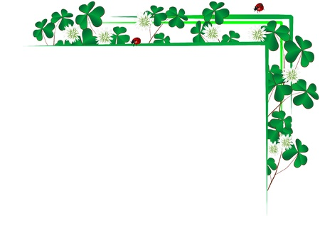 clover banner: Blank paper with border from clover leaves