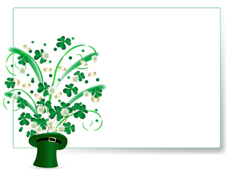Clover leaves and golden coins in green St.Patrics hat Vector