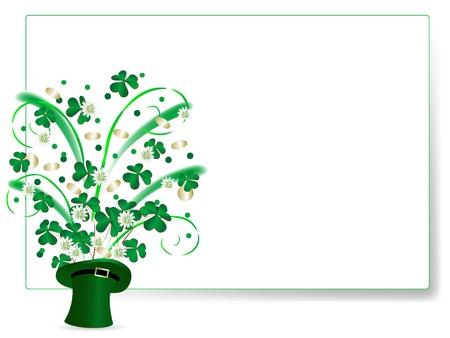 four fourleaf: Foglie di trifoglio e monete d'oro in cappello verde St.Patric s ' Vettoriali