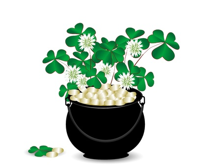 St.Patrick's cauldron with golden money and clover Stock Vector - 17584451
