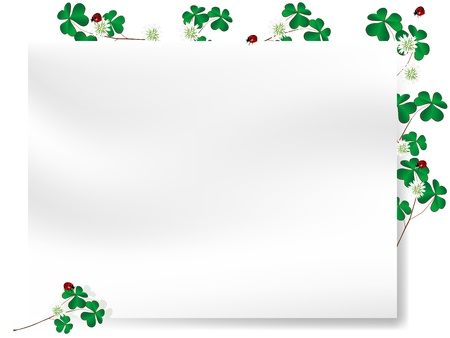 four fourleaf: Blank paper with border from clover leaves