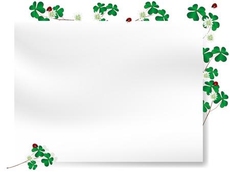 four fourleaf: Carta bianca con bordo di foglie di trifoglio