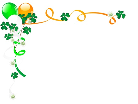 balloon border: Carnival background with balloons, clover and ribbons Illustration