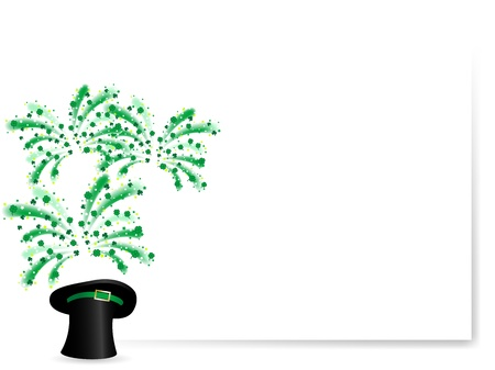 Clover leaves in black St.Patric's hat Vector