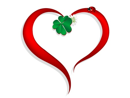 Abstract red heart with clover leaf and ladybird