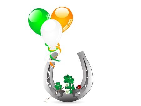 Silver horseshoe with balloons and clover leaves Vector