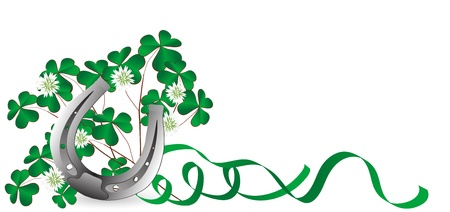 Silver horseshoe with clover leaves and ribbons Vector