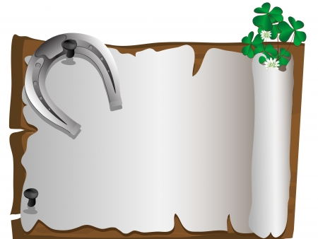 Silver horseshoe with ladybird and clover leaves Vector