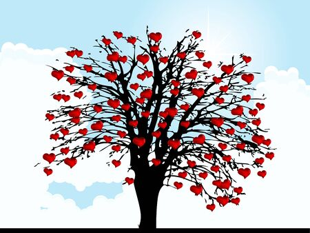 Red glass hearts on the tree