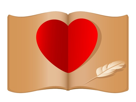 historical romance: Red heart in open old book Illustration