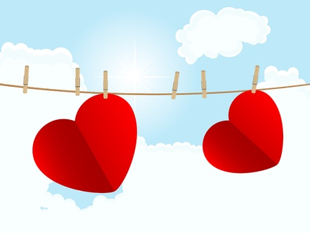 Two red hearts hanging on the rope Stock Vector - 17899195