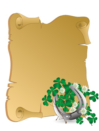 Silver horseshoe with clover leaves Vector