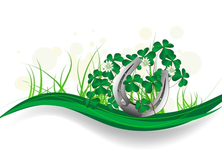 clover banners: Silver horseshoe with clover leaves and ribbons Illustration