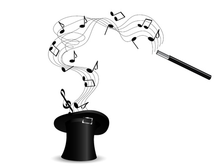 illusionist: Black magic cylinder with notes and magic hand Illustration