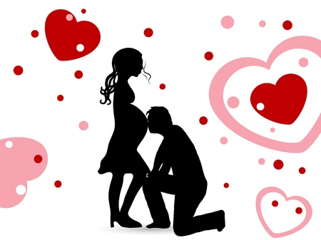 romantic sexy couple: Silhouette of young pregnant woman Illustration